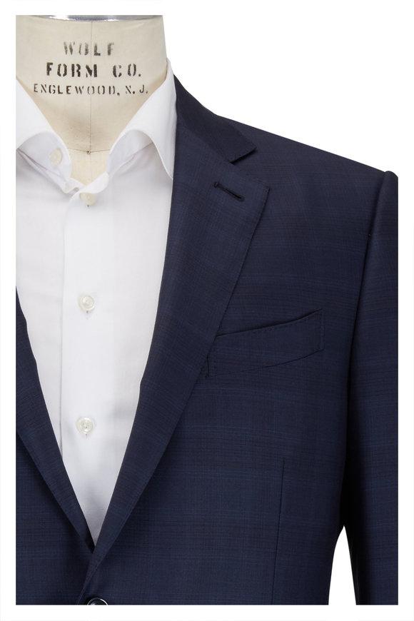 Ermenegildo Zegna Dark Navy Tonal Plaid Wool Suit