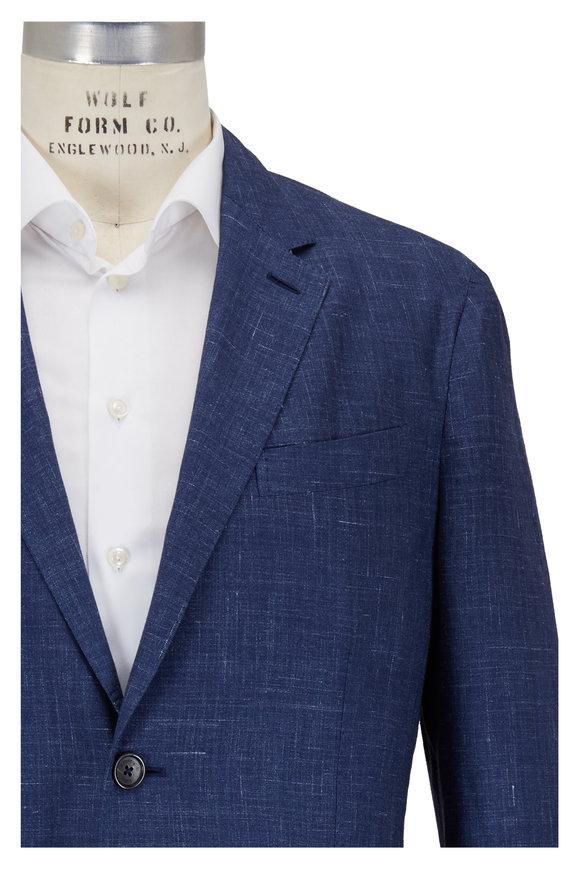 Ermenegildo Zegna Blue Textured Cashmere, Silk & Hemp Sportcoat