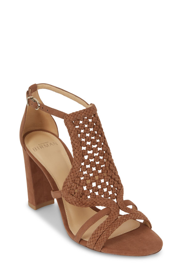 Alexandre Birman Carmella Light Beige Woven Suede Sandal, 90mm