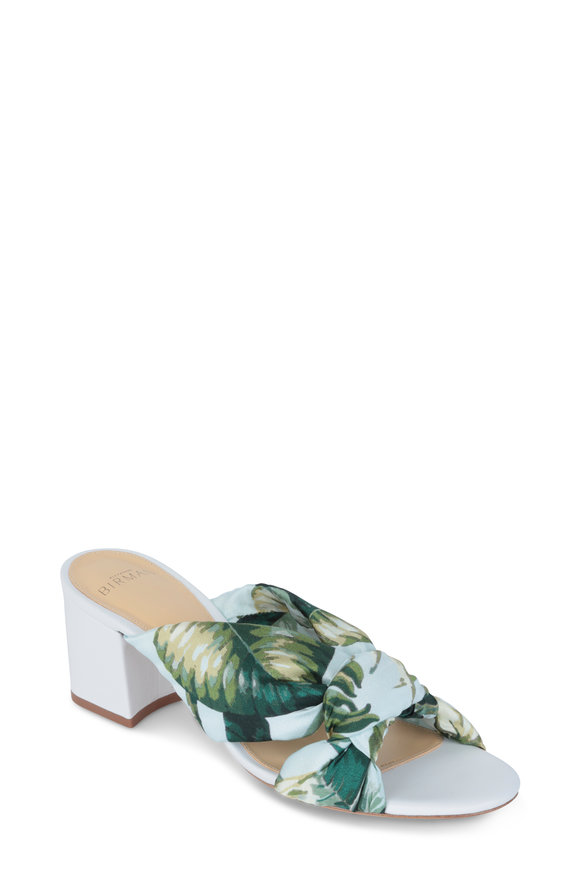 Alexandre Birman Kacey White & Botanical Print Silk Slide, 60mm
