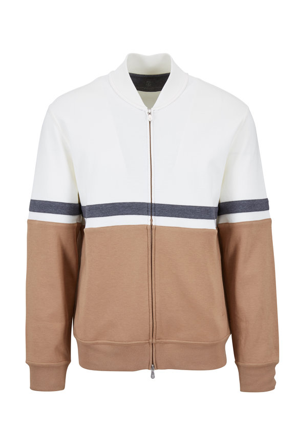 Brunello Cucinelli Cream Colorblock Front Zip Varsity Jacket