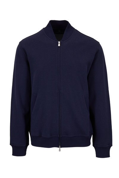 Brunello Cucinelli - Dark Blue Cotton & Nylon Varsity Jacket