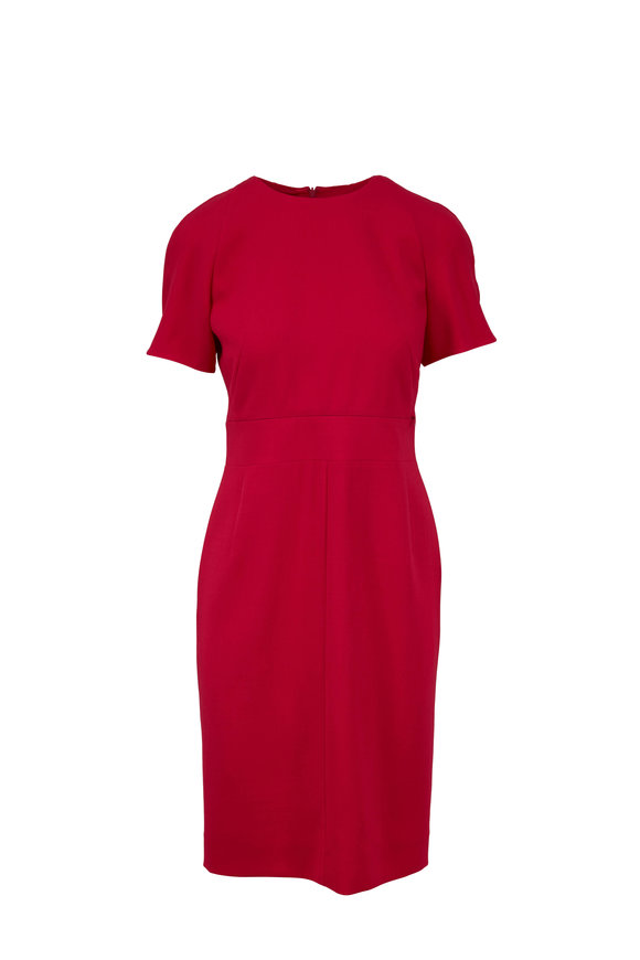 Akris Pink Wool Zip Waist Sheath Dress