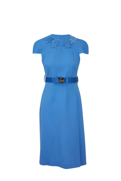 Fendi - Baby Blue Crêpe Mink Floral Detail Belted Dress