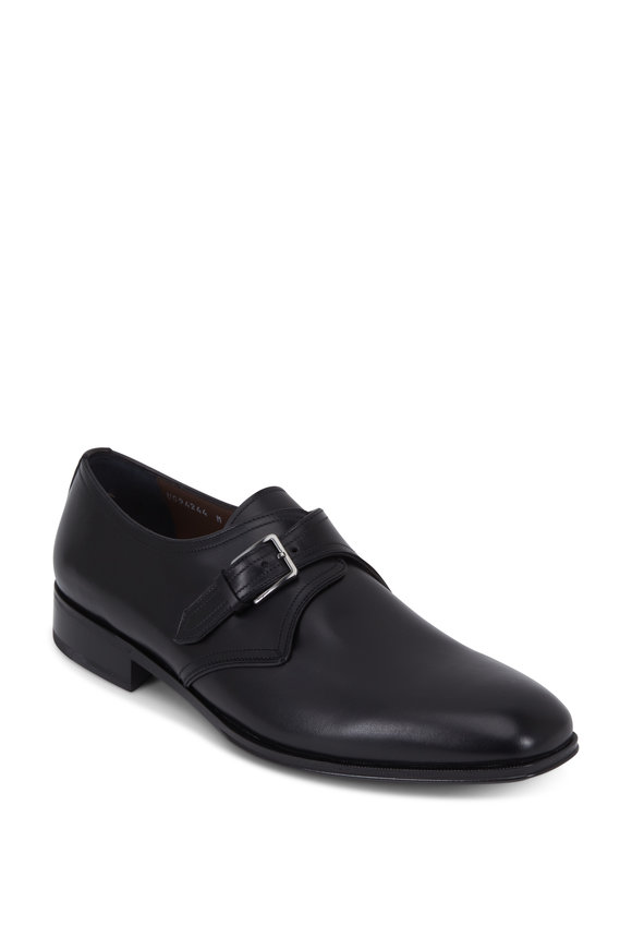 Salvatore Ferragamo Alessandro Black Leather Monk Shoe