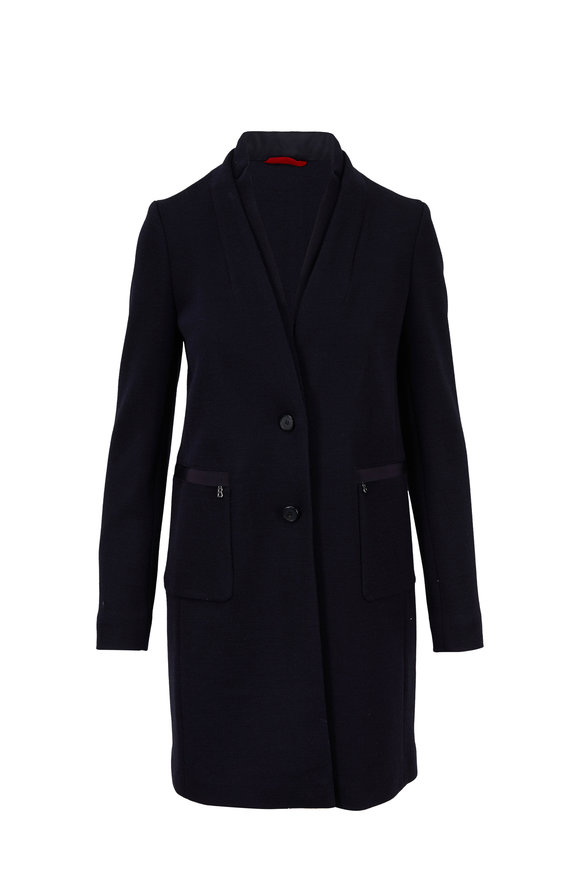 Bogner Caroline Navy Two Button Long Coat