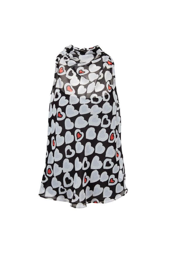 Emporio Armani Black & White Heart Print Sleeveless Top