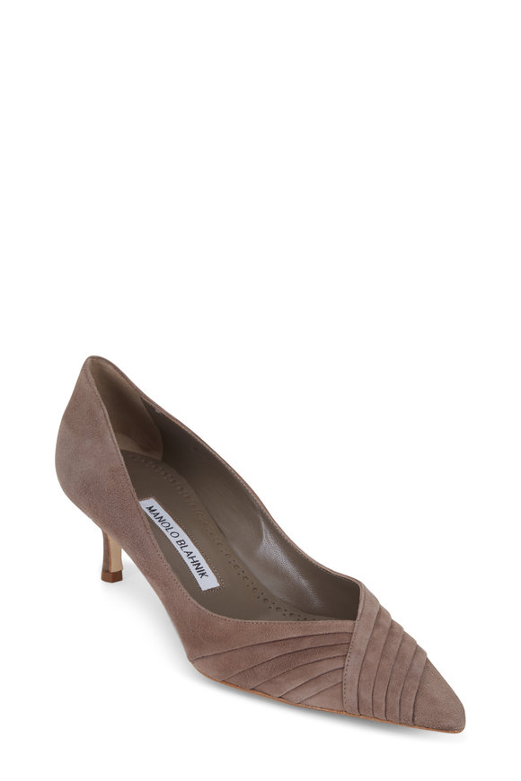 Manolo Blahnik Fabio Mushroom Suede Pleated Pump, 50mm