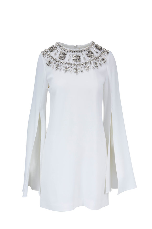 Michael Kors Collection White Slit Sleeve Jeweled Neck Dress