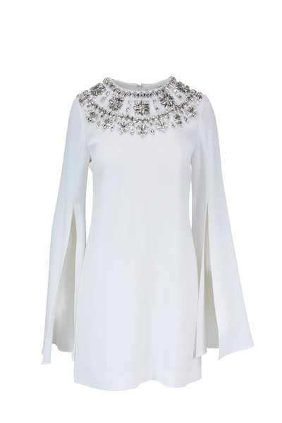 Michael Kors Collection - White Slit Sleeve Jeweled Neck Dress
