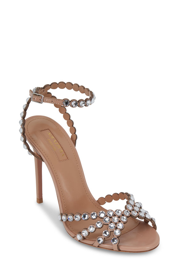 Aquazzura Tequila Powder Pink Jeweled Sandal, 105mm