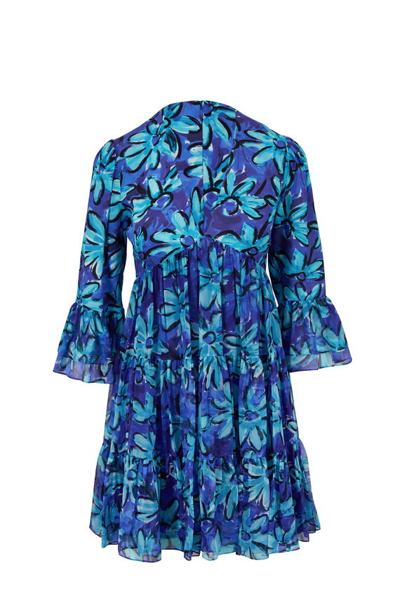 Michael Kors Collection Turquoise Floral Gathered Mini Dress