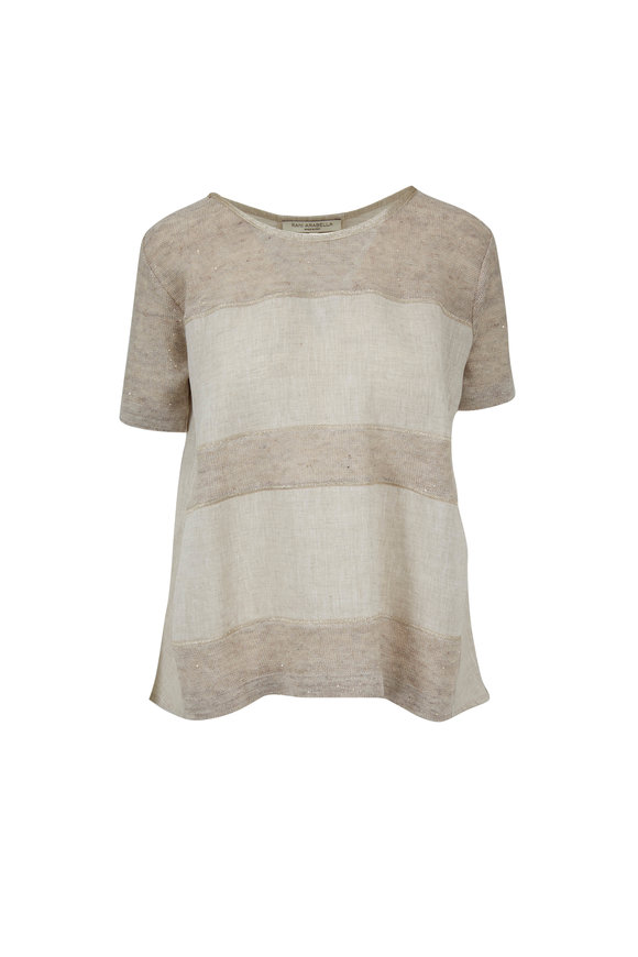 Rani Arabella Sand Linen & Cotton Lurex Trim T-Shirt