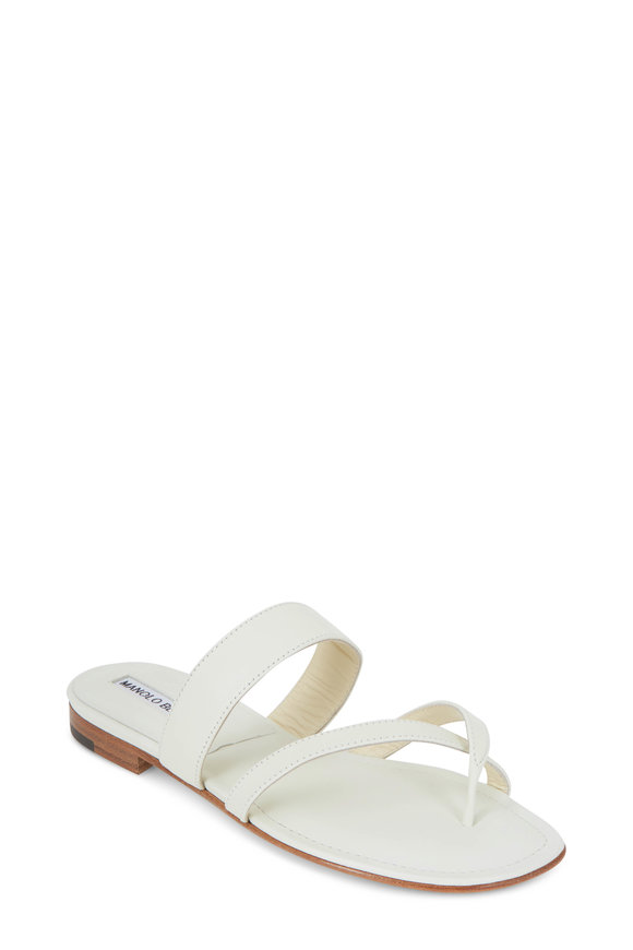 Manolo Blahnik Susa White Leather Toe Ring Flat Sandal