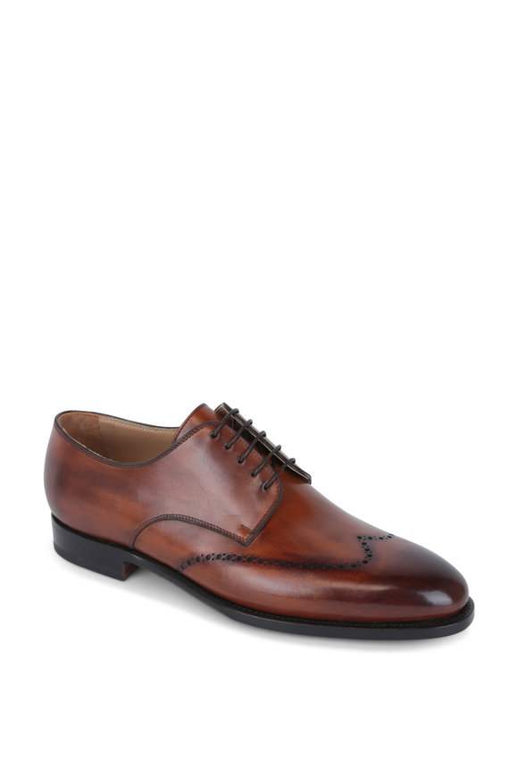 Kiton Light Brown Leather Derby Dress Shoe