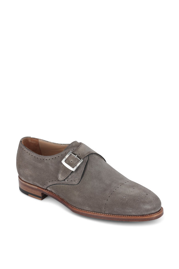 Kiton Sand Suede Monk Strap Dress Shoe