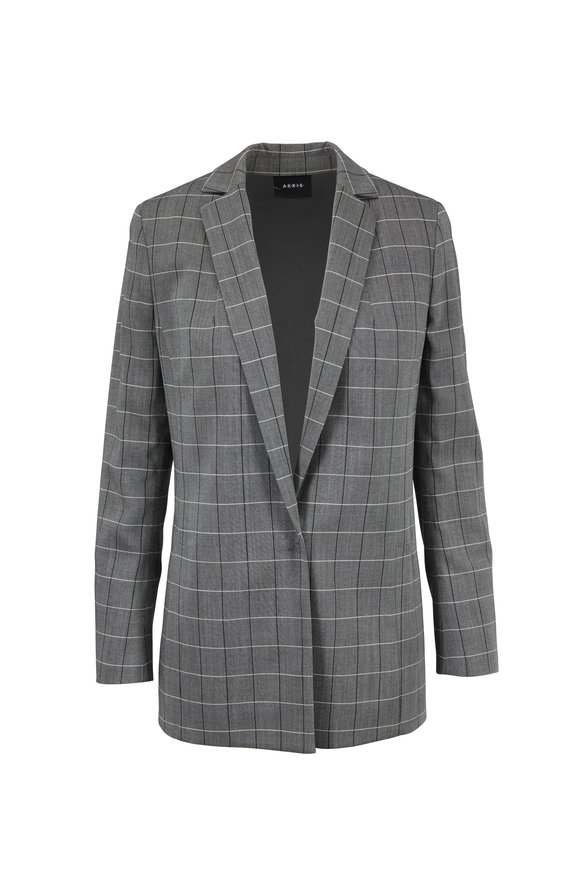 Akris Alan Black & Paper Wool Sharkskin Plaid Jacket
