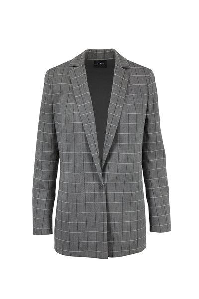 Akris - Alan Black & Paper Wool Sharkskin Plaid Jacket
