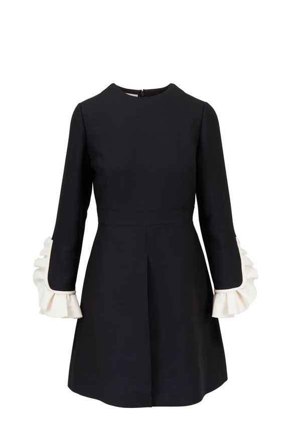 Valentino Crêpe Couture Black & Ivory Frill Sleeve Dress