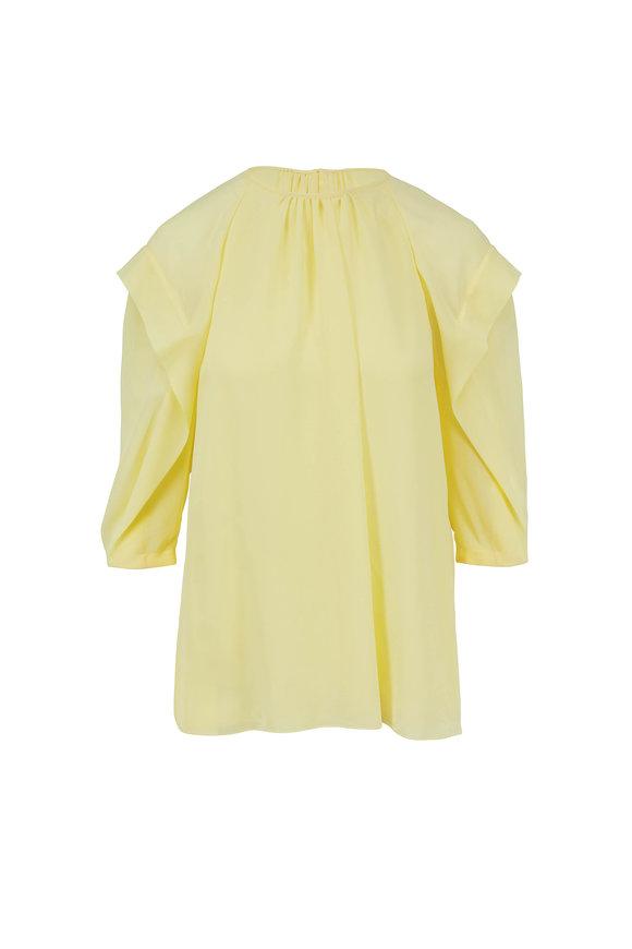 Chloé Sunlit Green Silk Ruffle Shoulder Top