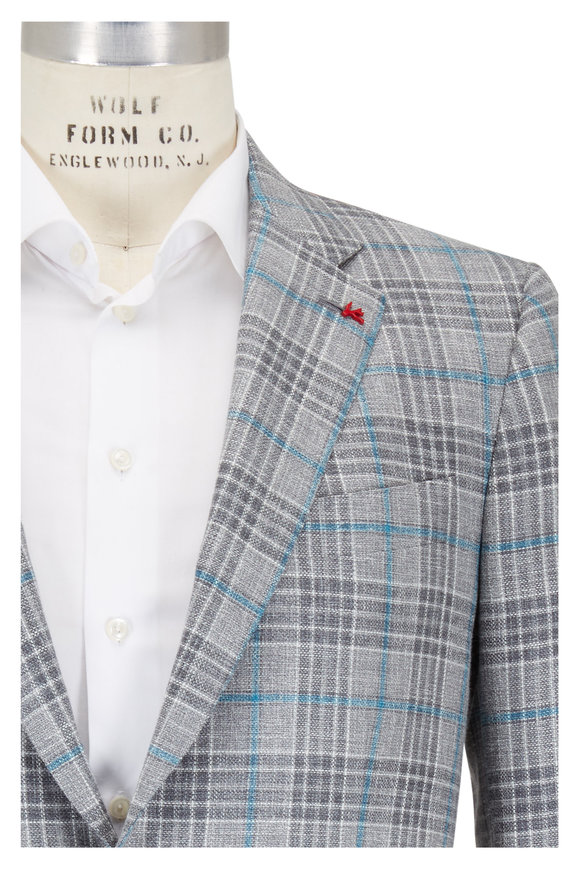 Isaia Sanita Gray & Aqua Windowpane Sportcoat