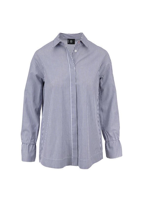Bogner Sophie Blue & White Striped Cotton Shirt