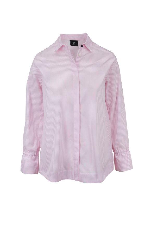 Bogner Sophie Pink & White Striped Cotton Shirt