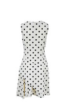 Oscar de la Renta - White & Black Polka Dot Cutaway Dress