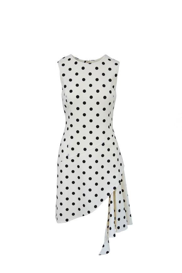 Oscar de la Renta White & Black Polka Dot Cutaway Dress