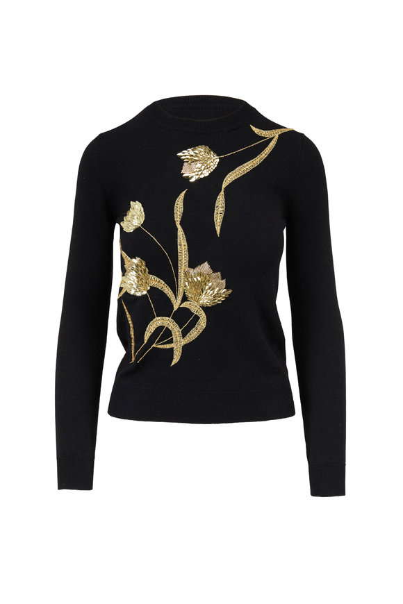 Oscar de la Renta Black & Gold Embellished Wool Sweater