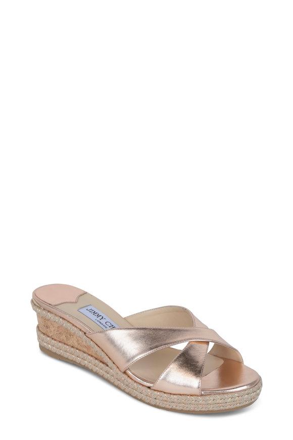 Jimmy Choo Almer Ballet Pink Metallic Wedge Sandal