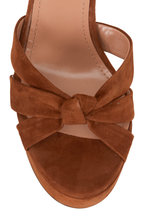 Aquazzura - Baba Cognac Suede Platform Sandal, 125mm