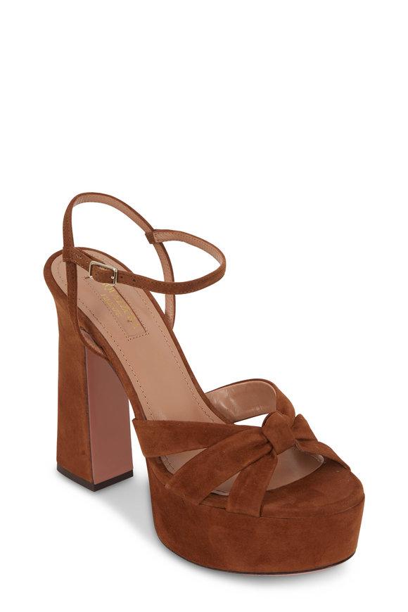 Aquazzura Baba Cognac Suede Platform Sandal, 125mm