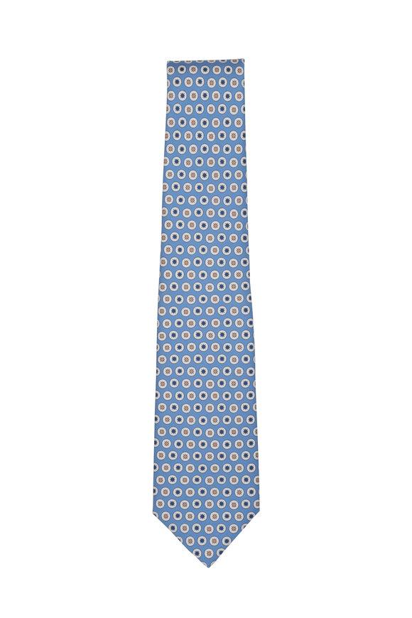 Kiton Blue & White Geometric Silk Necktie