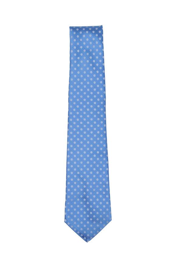 Kiton Light Blue & White Dot Silk Necktie