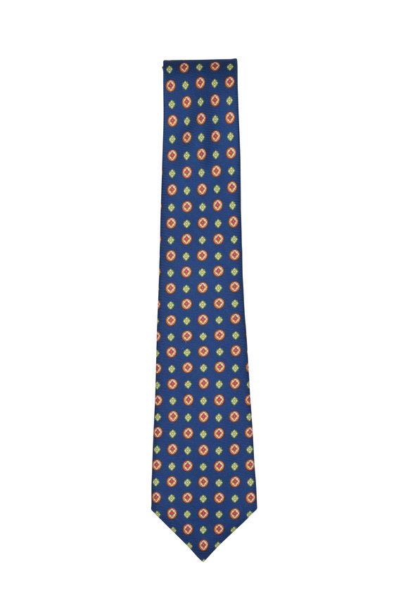 Kiton Navy Blue Medallion Silk Necktie