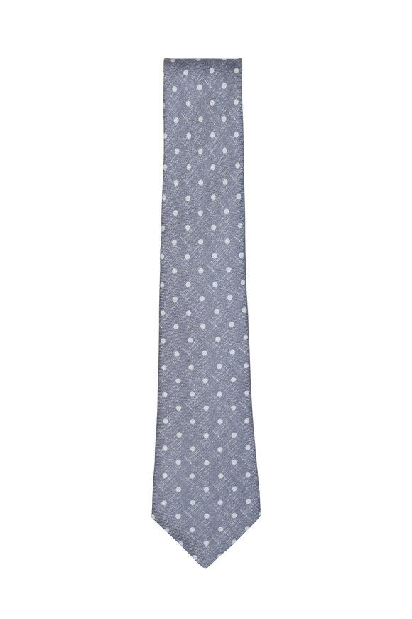 Kiton Gray & White Dot Silk Necktie