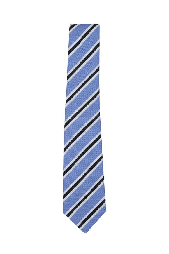 Kiton Periwinkle Striped Silk & Cotton Necktie