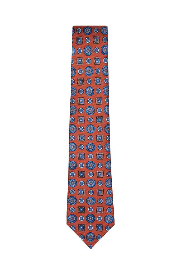 Kiton Orange & Blue Medallion Silk Necktie