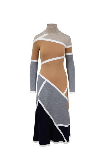 Gabriela Hearst - Modotti Beige & Gray Wool Turtleneck Knit Dress