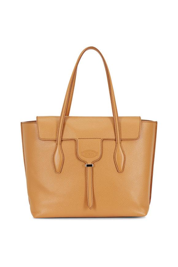 Tod's New Joy Beige Leather Medium Tote Bag