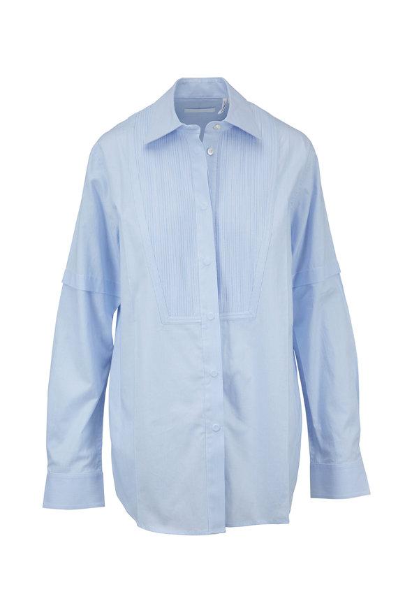 Helmut Lang Pintuck Tuxedo Light Blue Striped Shirt