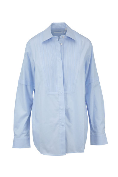 Helmut Lang - Pintuck Tuxedo Light Blue Striped Shirt