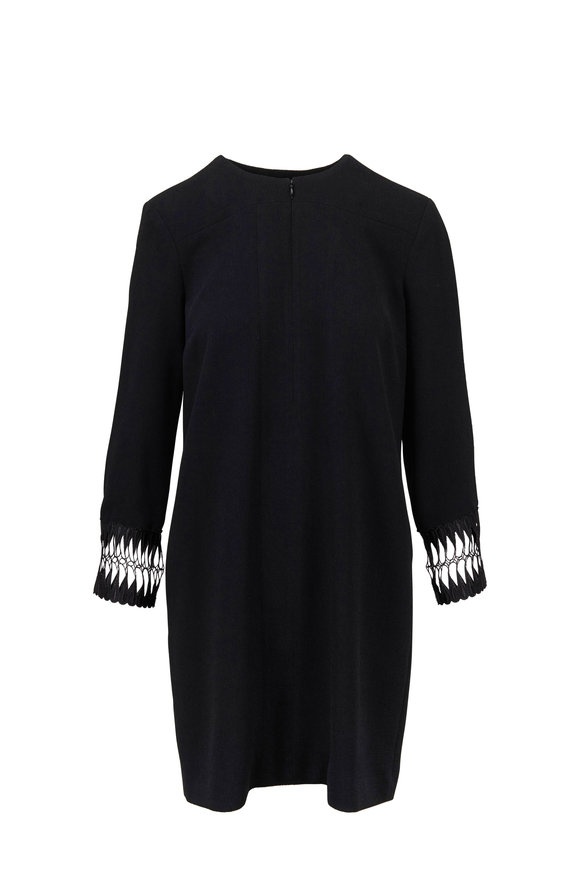 Partow Laurie Black Lace Cuff Shift Dress