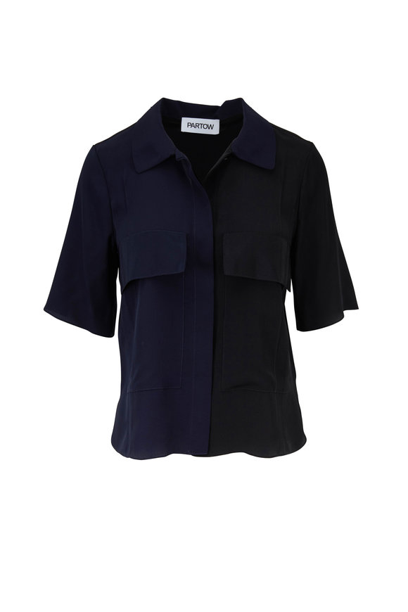 Partow Navy & Black Bi-Color Silk Blouse