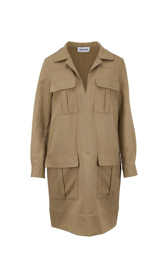 Partow Adler Khaki Flap Pocket Trench Dress