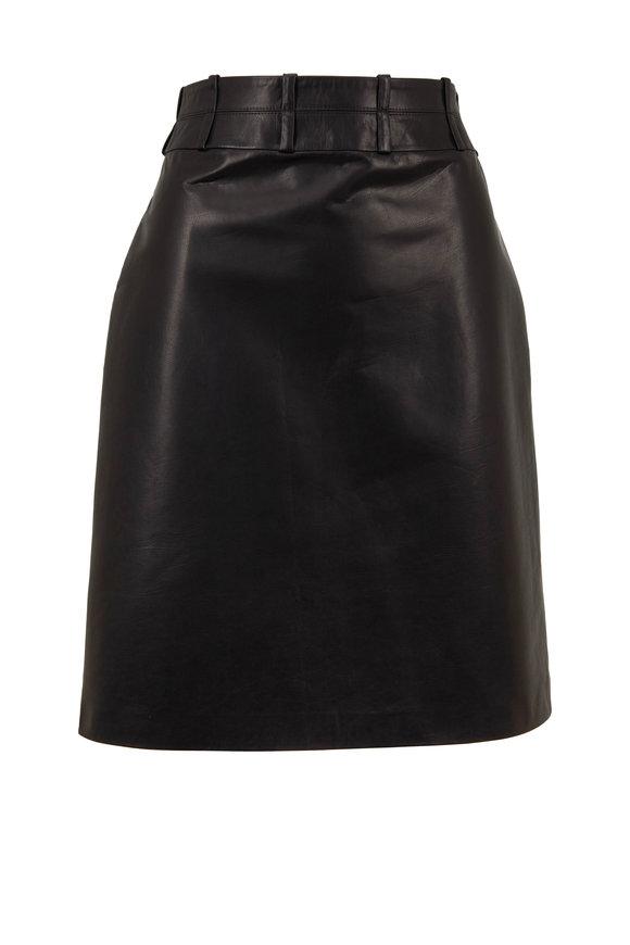 Partow Cora Black Leather High-Waist Skirt