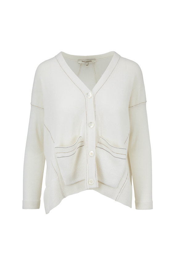 Rani Arabella Ivory Cashmere High-Low Hem Cardigan