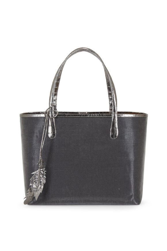 Nancy Gonzalez Erica Anthracite Coated Linen Crocodile Trim Tote