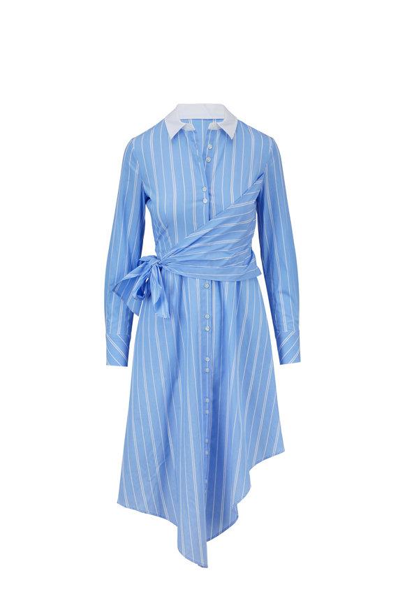 Jonathan Simkhai Blue & White Stripe Oxford Wrap Dress